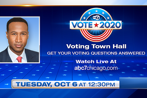 Voting Town Hall Live Tuesday, October 6th at 12:30pm with ABC 7 Eyewitness Morning News Anchor Terrell Brown Moderating